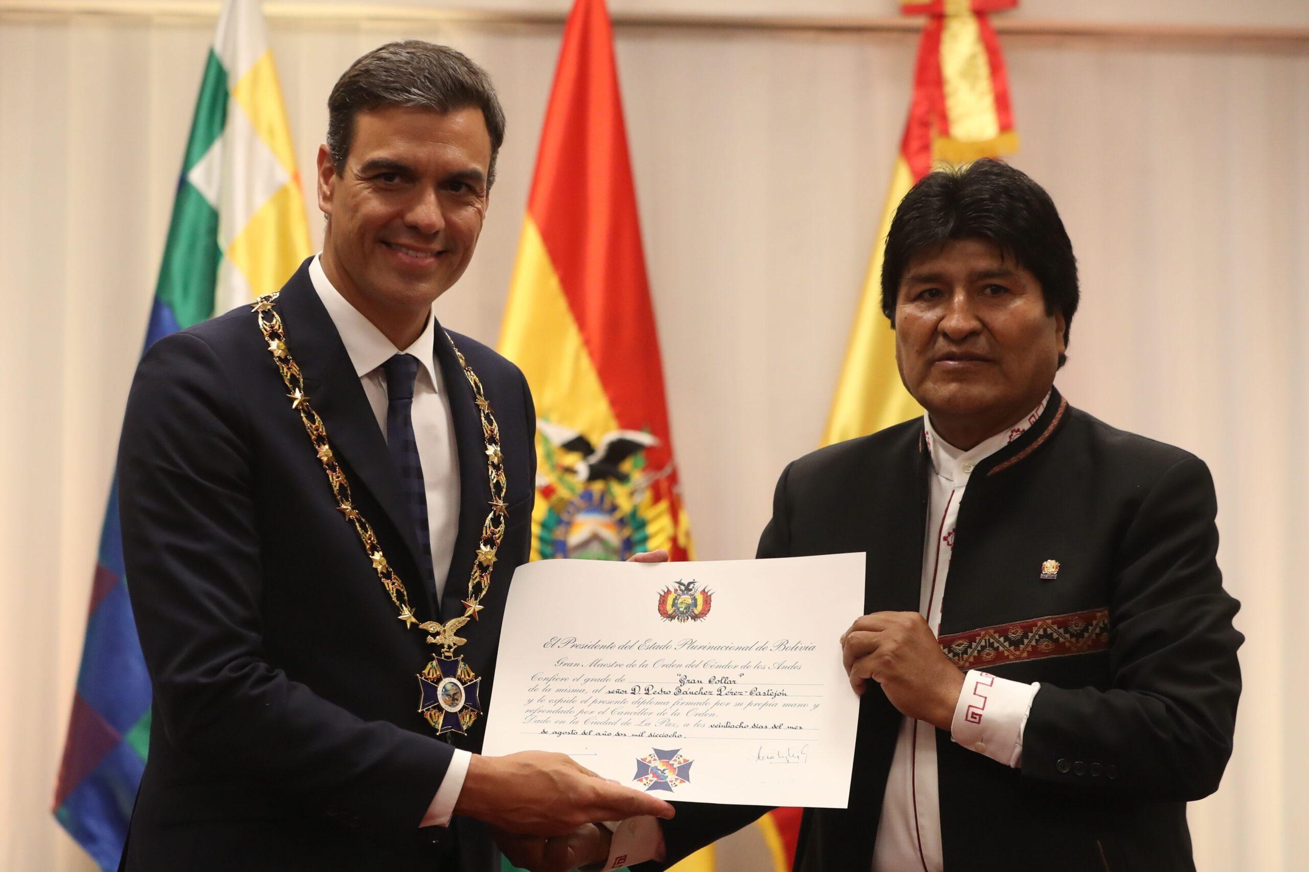 Pedro Sánchez amb Evo Morales