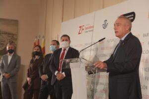 Jaume Collboni, la alcaldesa Ada Colau, el ministro Jose Luis Ábalos, el presidente de Correos, Juan Manuel Serrano y Pere Navarro (CZFB)