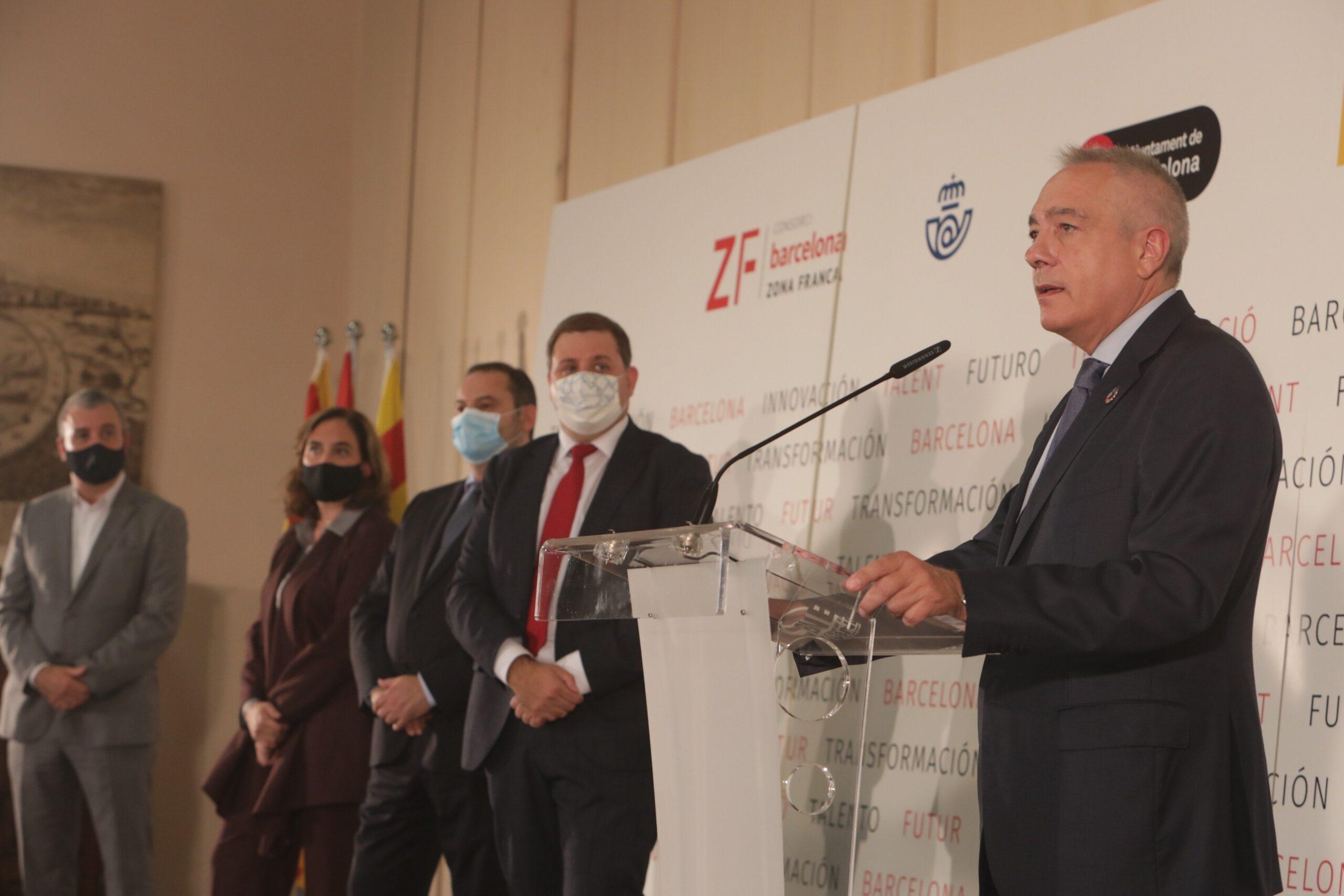 Jaume Collboni, l'alcaldessa Ada Colau, el ministre Jose Luis Ábalos,
