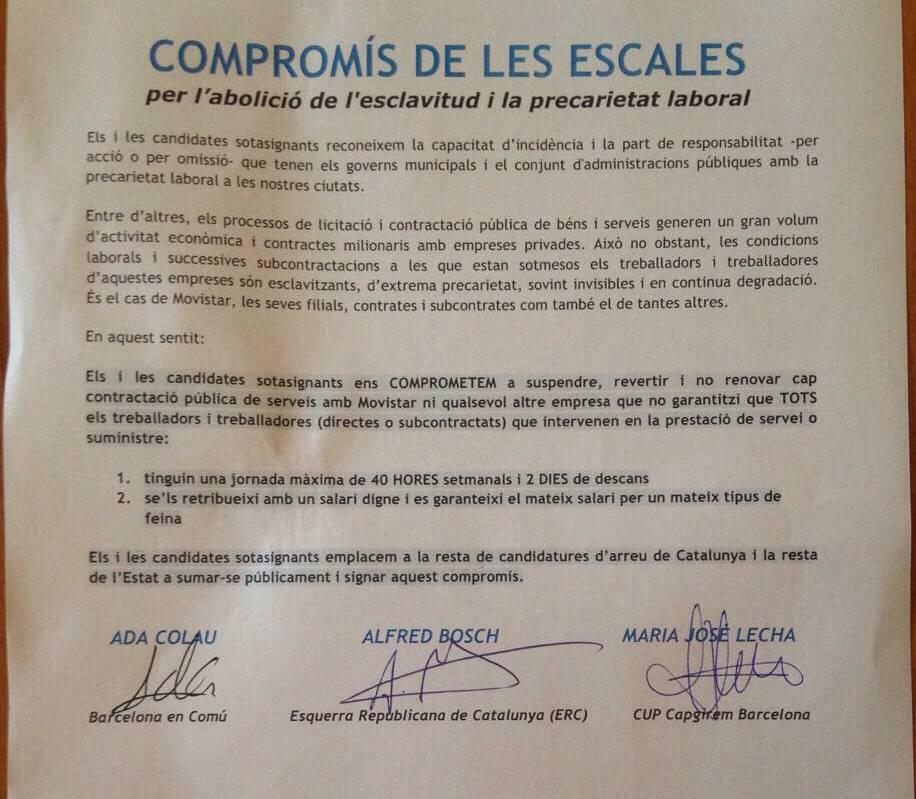 Acord dels signants contra les males praxis de Movistar