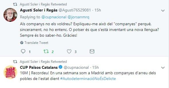 Tuit de Agustí Soler contra el lenguaje feminista de la CUP