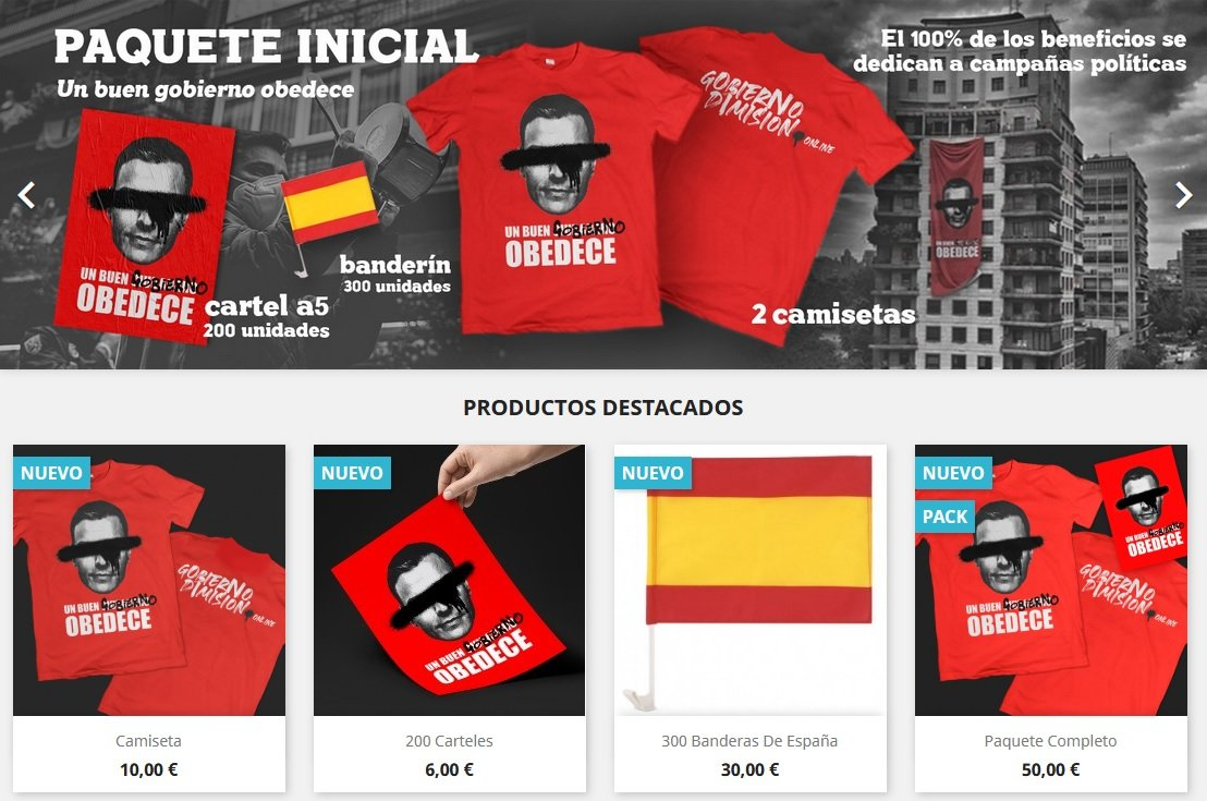 Web de la botiga Gobierno Dimisión