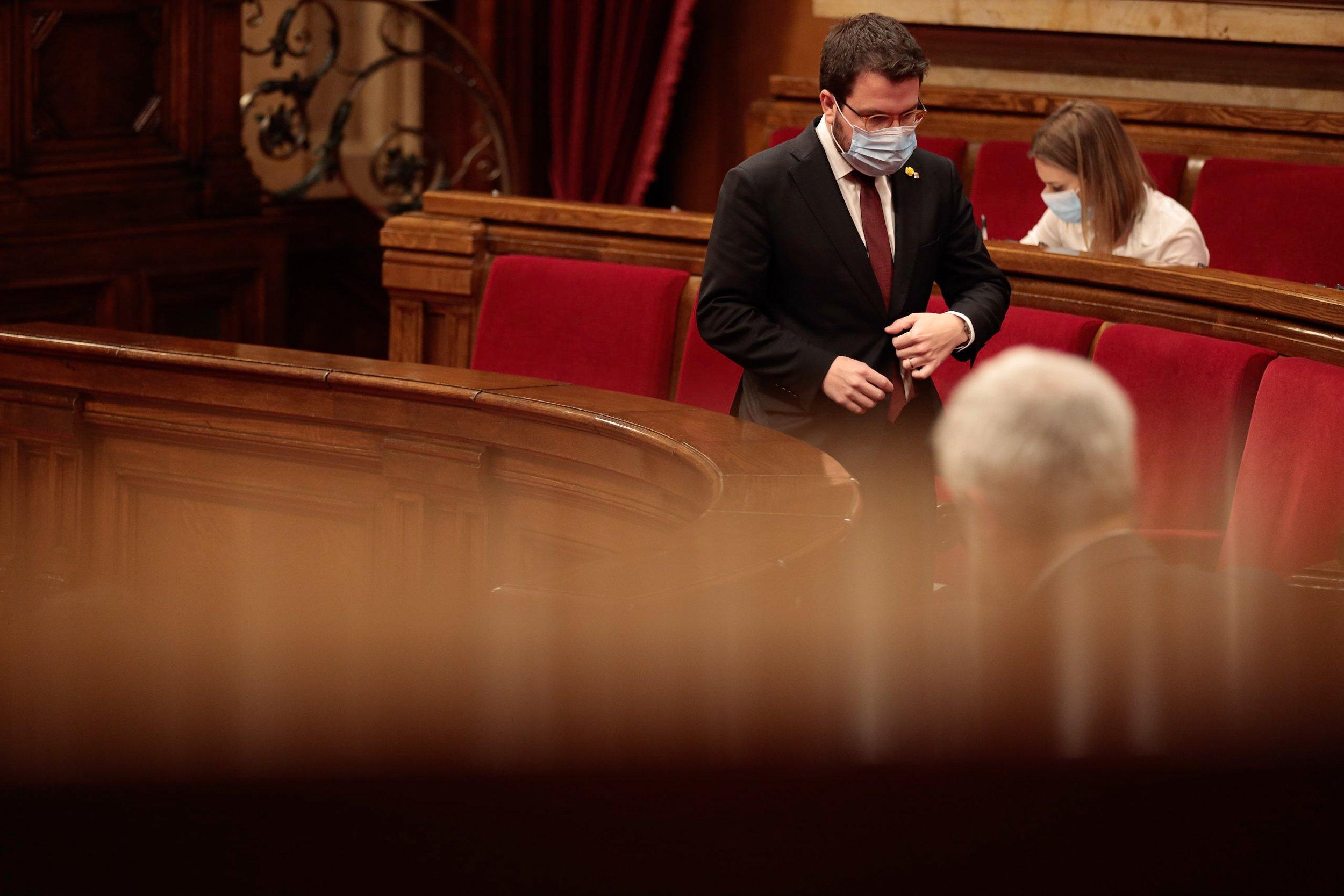 Pere Aragonés y Jéssica Albiach, en el debate de los presupuestos