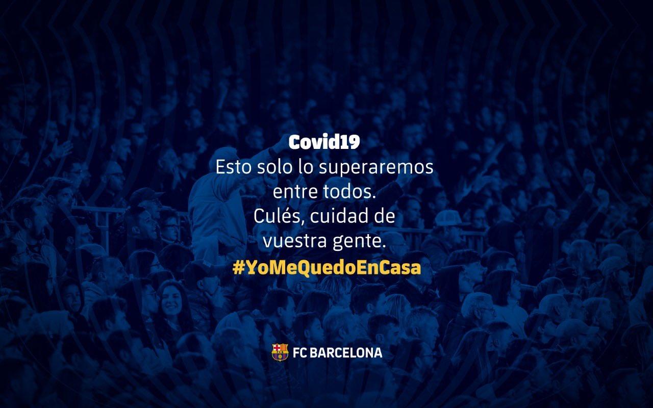 Mensaje sobre el coronavirus que ha colgado el Barça en Twitter