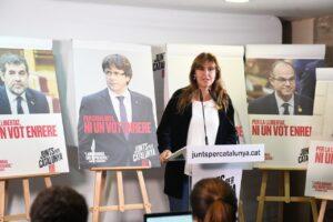 Laura Borràs, una de las aspirantes de Junts, en un acto de campaña de 2019