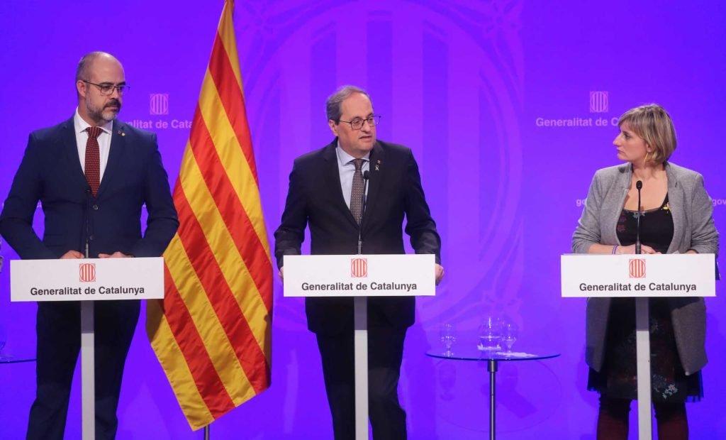 El presidente Quim Torra, en una comparecencia con los consejeros Miquel Buch y Alba Vergés