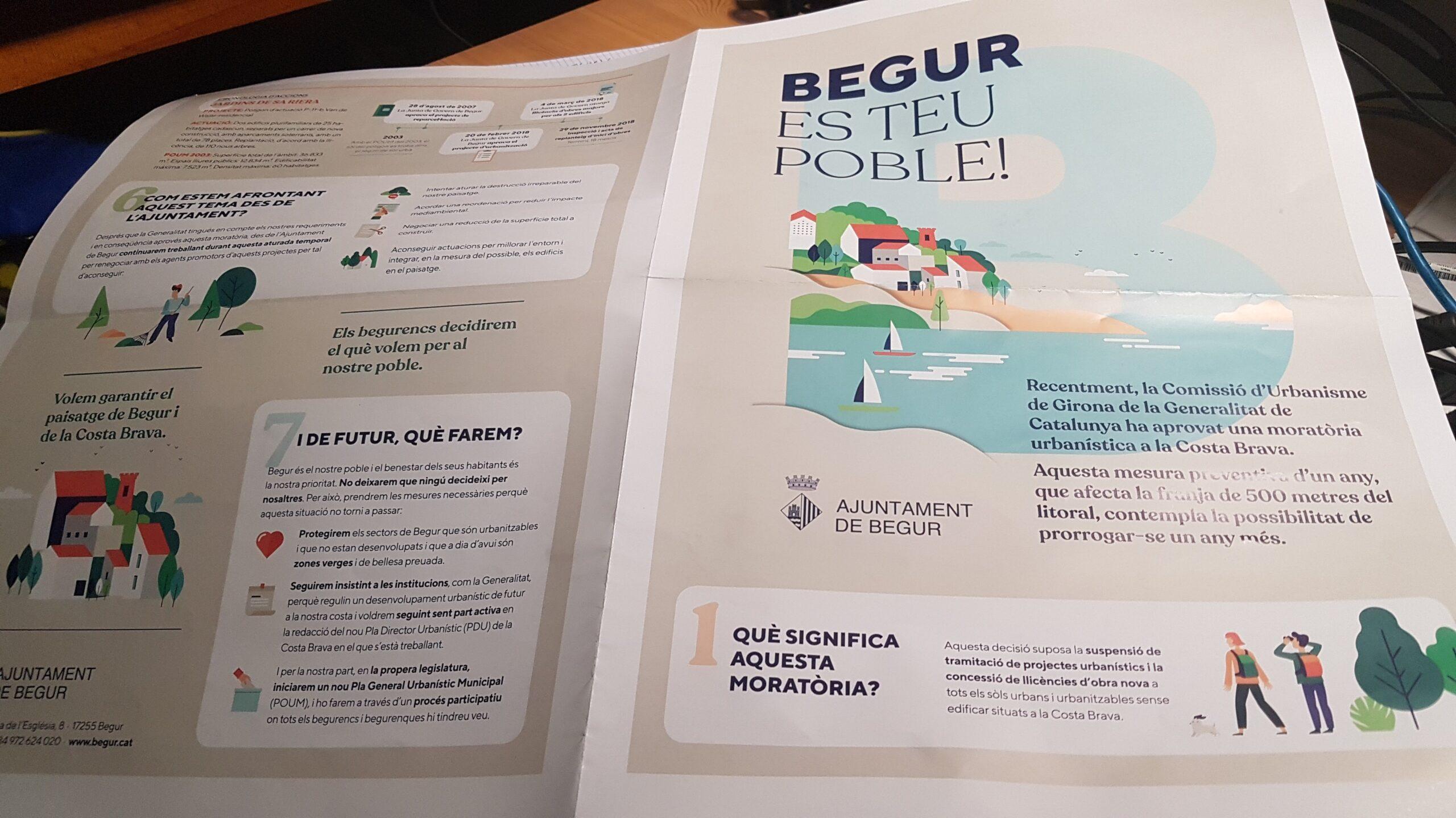 Pamflet propagandístic distribuït per l'Ajuntament de Begur