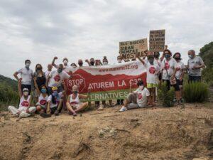 Acció ecologista a Tordera contra l'ampliació de la C-32, el 10 de j