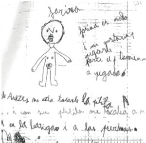 Dibuix d'una de les víctimes