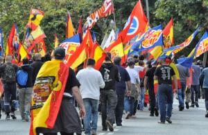Manifestants ultres a Montjuïc