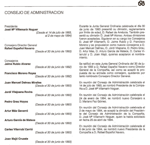 El document que reproduïm sobre aquestes línies correspon a la memòria de La Seda de Barcelona de l'any 1994