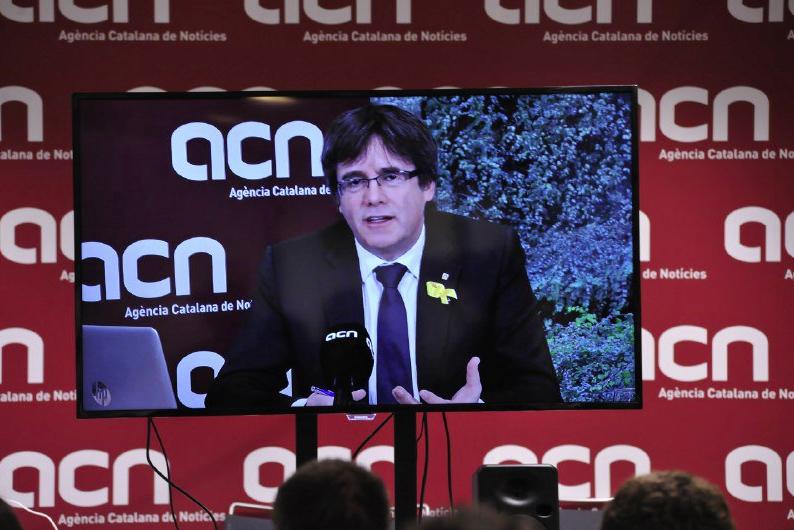 Carles Puigdemont en un acto organizado por la Agència Catalana de No