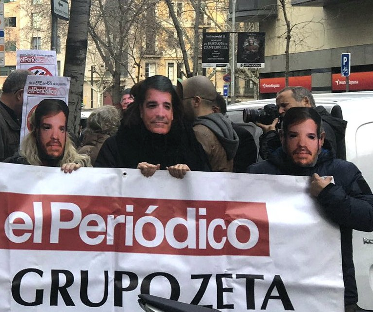 Protesta contra l'ERO a El Periódico