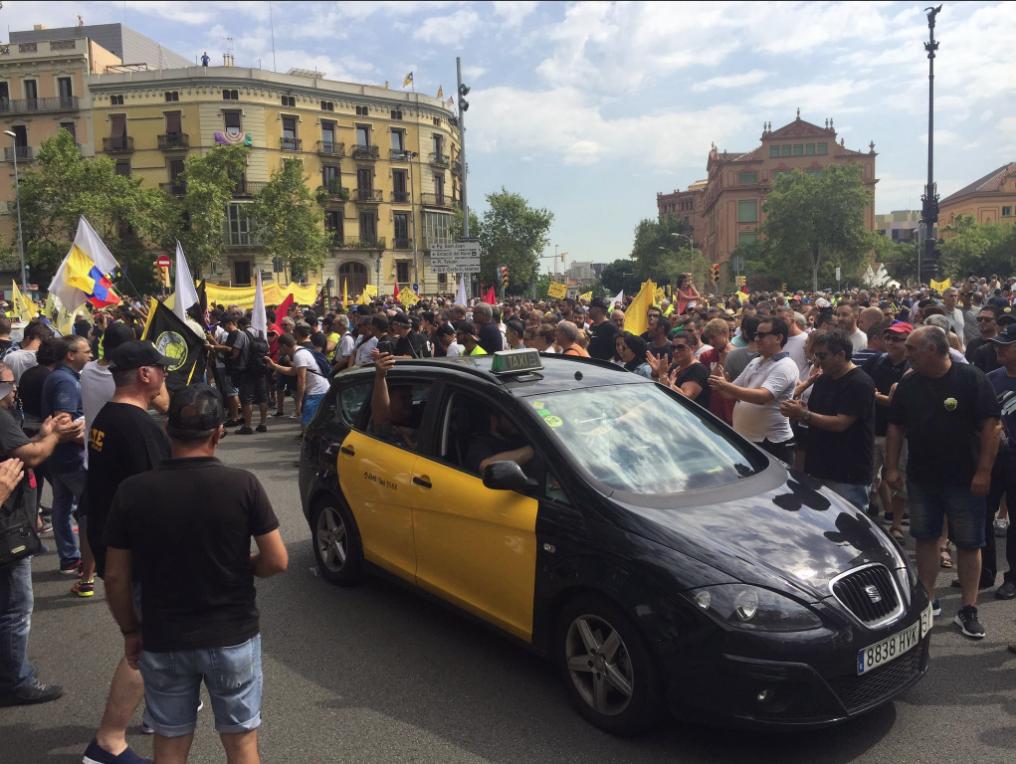 Movilización de los taxistas en Barcelona