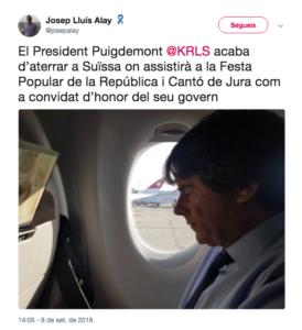 Alay dijo que Puigdemont era invitado de honor del gobierno del Jura