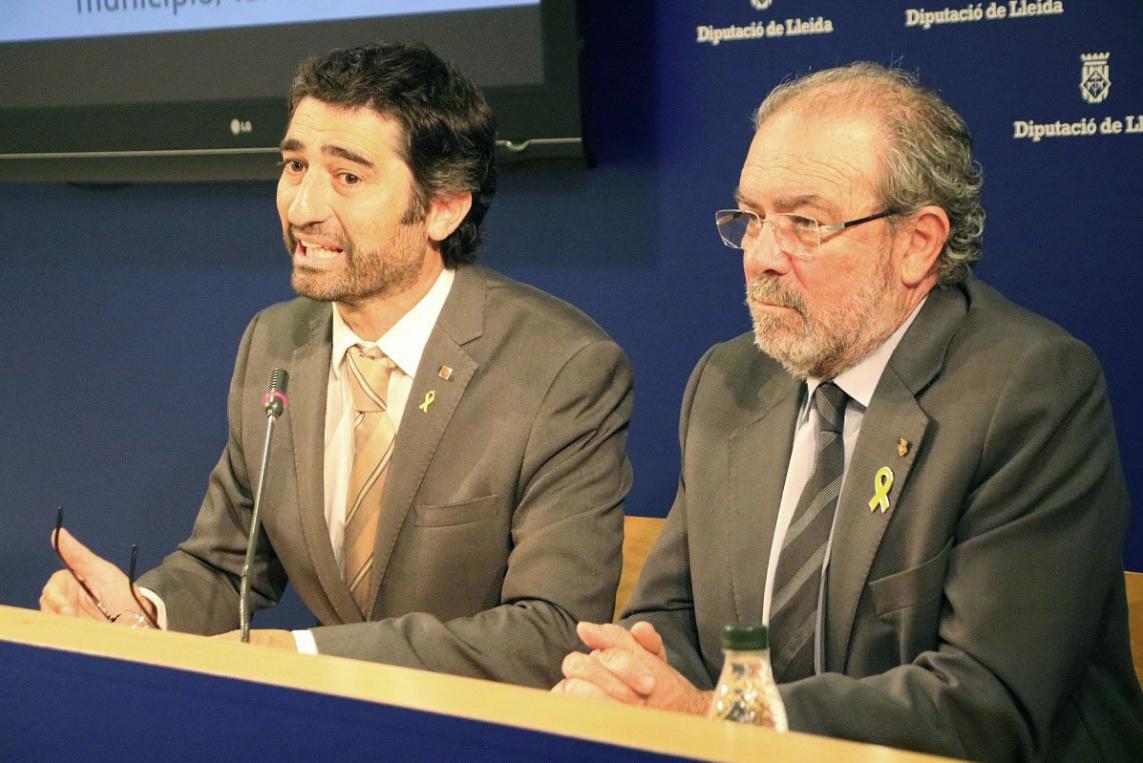 Joan Reñé, durante una comparecencia con el consejero Jordi Puigneró