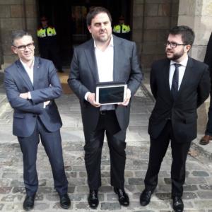 Oriol Junqueras, acompañado de Josep Maria Jové y Pere Aragonés
