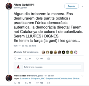 Godall, contra els partits 'indepes'