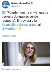 Tuit del govern sobre l'entrevista a Elsa Artadi