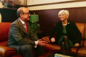 María José Segarra, reunida con el presidente del TSJC, Jesús María