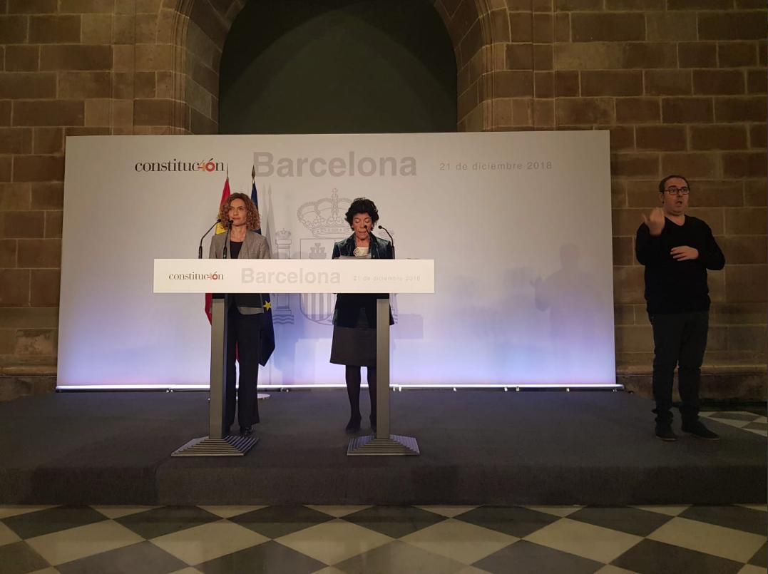 Las ministras Meritxell Batet e Isabel Celaá
