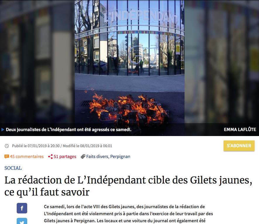 La noticia, en la web de 'L'independant'