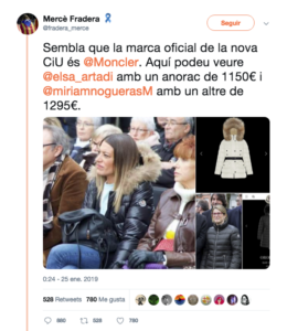 Nogueras y Artadi, vistiendo abrigos de Moncler