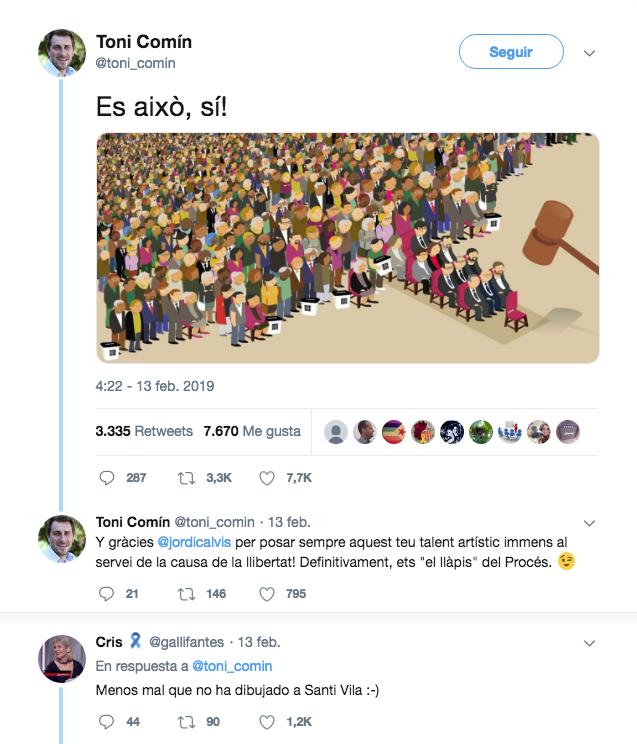 La viñeta sin Vila difundida por Comín