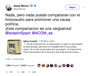Moran carga contra el tuit de Artadi