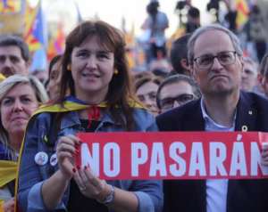 Torra y Borràs, durante la manifestación de Madrid