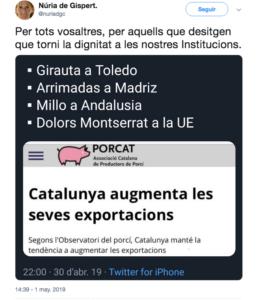 El tuit de Núria de Gispert contra Arrimadas, Millo, Girauta i Montse