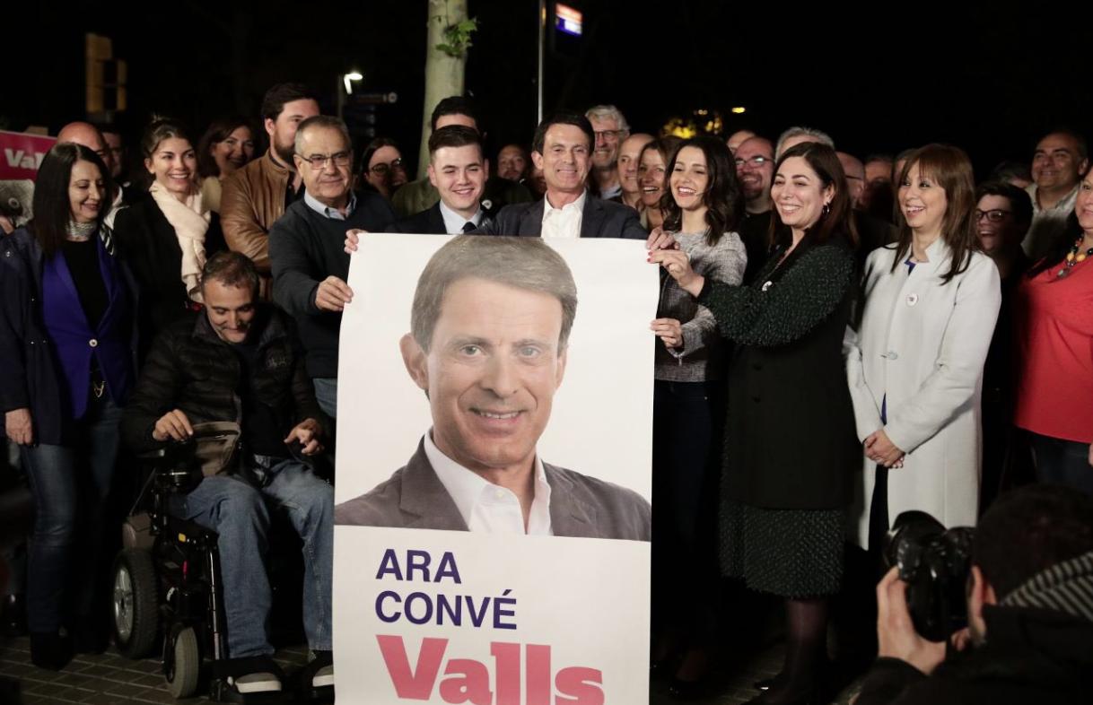 Inés Arrimadas, durant un acte de campanya de Manuel Valls