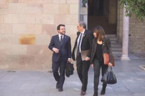 Quim Torra, Pere Aragonés y Meritxell Budó