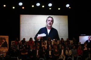 Joaquim Forn, interviniendo desde Soto del Real durante la campaña elec