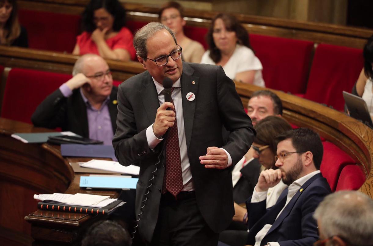 Quim Torra, en el Parlamento de Cataluña