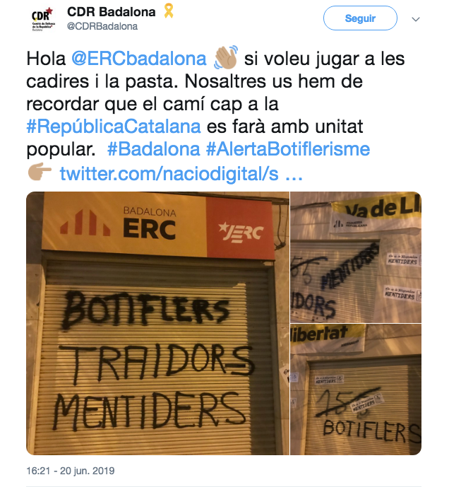 Los CDR señalan a ERC en Badalona