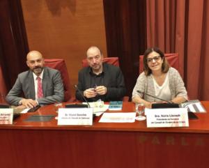 Los directores de Catalunya Ràdio y TV3 y la directora en funciones de la CCMA, en el Parlament