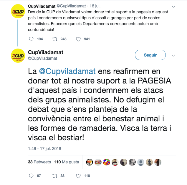 Los tuits de la CUP de Viladamat