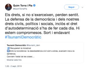 """Quim Torra s'apunta al """"Tsunami democràtic"""""""