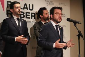Intervención de Pere Aragonés en el Palau Robert