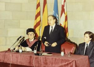 Jordi Pujol en un acte de la Universitat Politècnica de Catalunya el 1987
