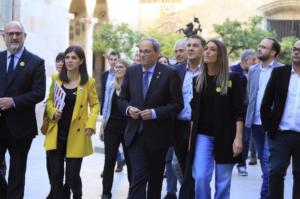 Quim Torra, acompañado de otras figuras del independentismo