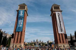 Movilización de Tsunami Democràtic en Barcelona