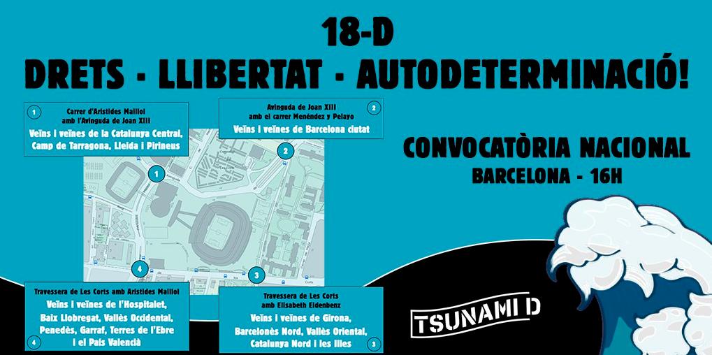 Tsunami prepara cuatro concentraciones alrededor del Camp Nou