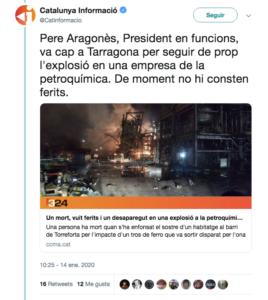 """Catalunya Informació ha tratado a Pere Aragonés de """"presidente en funciones"""""""