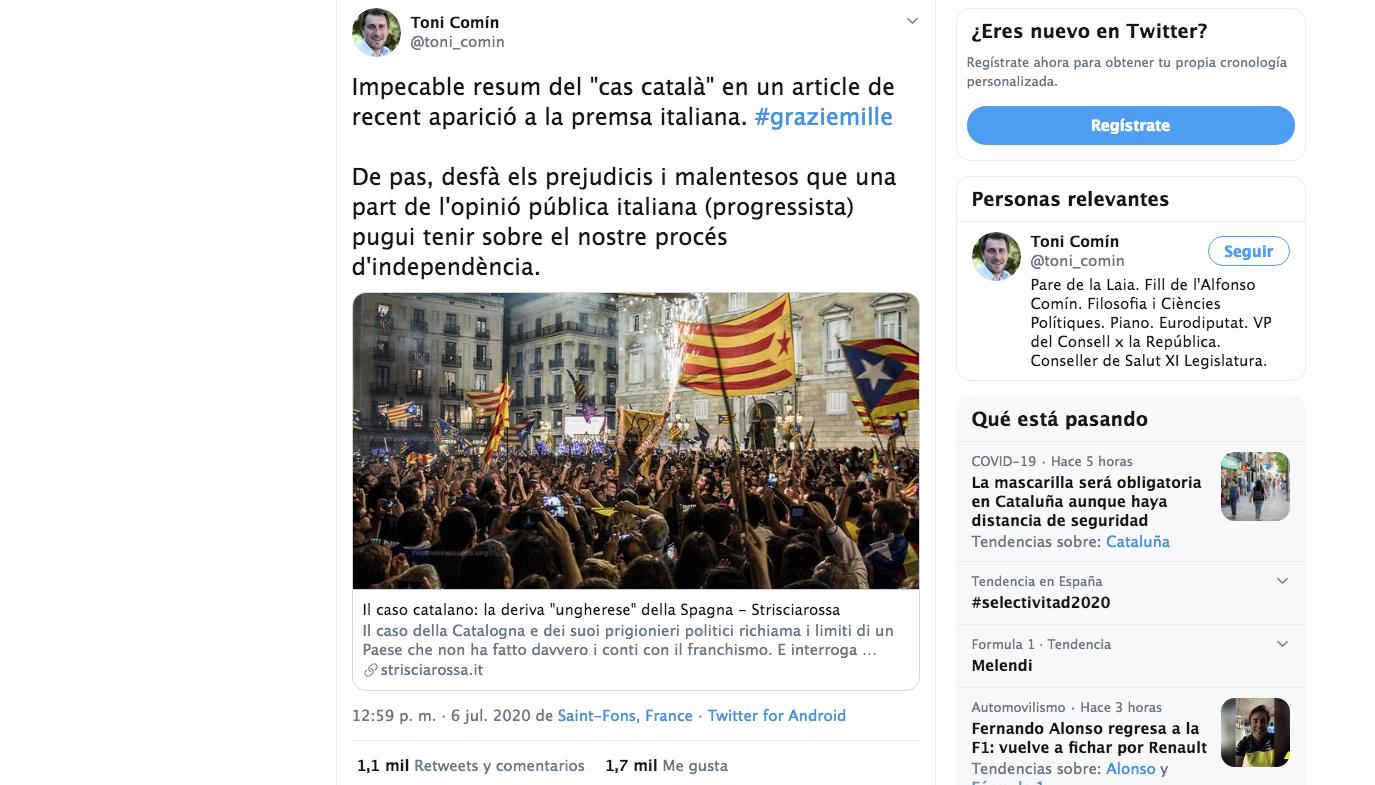 Comín se congratula del eco de la causa independentista en el blog Striciarossa