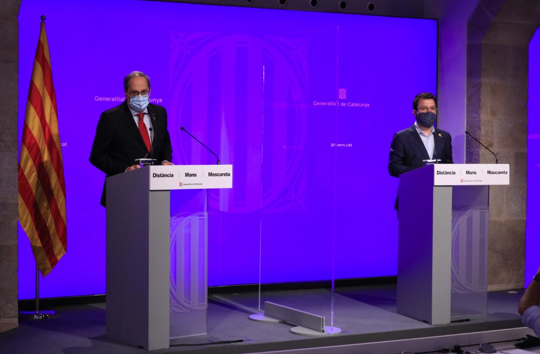 Rueda de prensa conjunta del presidente Quim Torra y del vicepresidente Pere Aragonès, este lunes