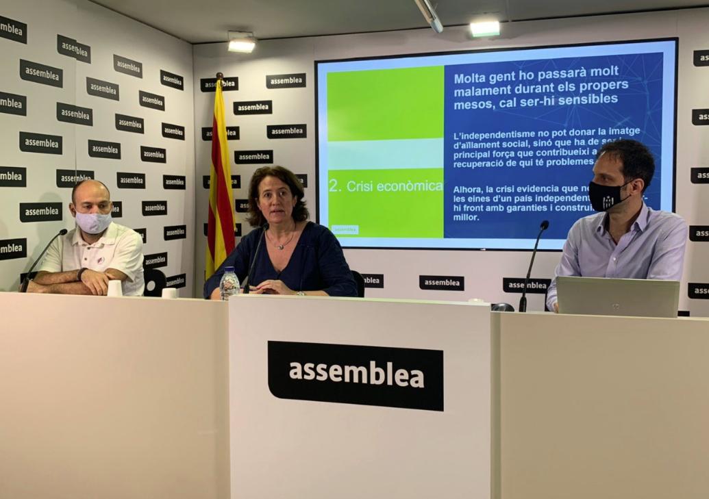 Elisenda Paluzie y Marcel Mauri, durante la presentación de la movilización independentista de la Diada