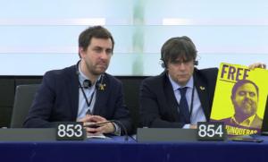 Carles Puigdemont y Toni Comín en la Eurocambra