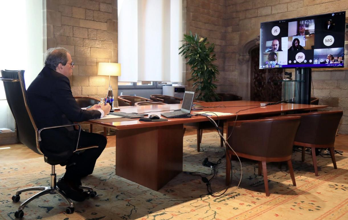 Reunió telemàtica de Quim Torra amb membres del seu govern